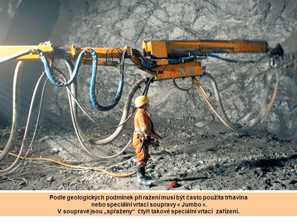 Podle geologických podmínek při ražení musí být často použita trhavina