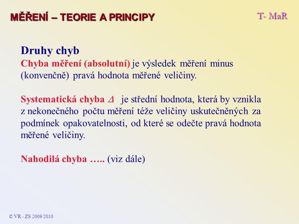 Druhy chyb T- MaR MĚŘENÍ – TEORIE A PRINCIPY