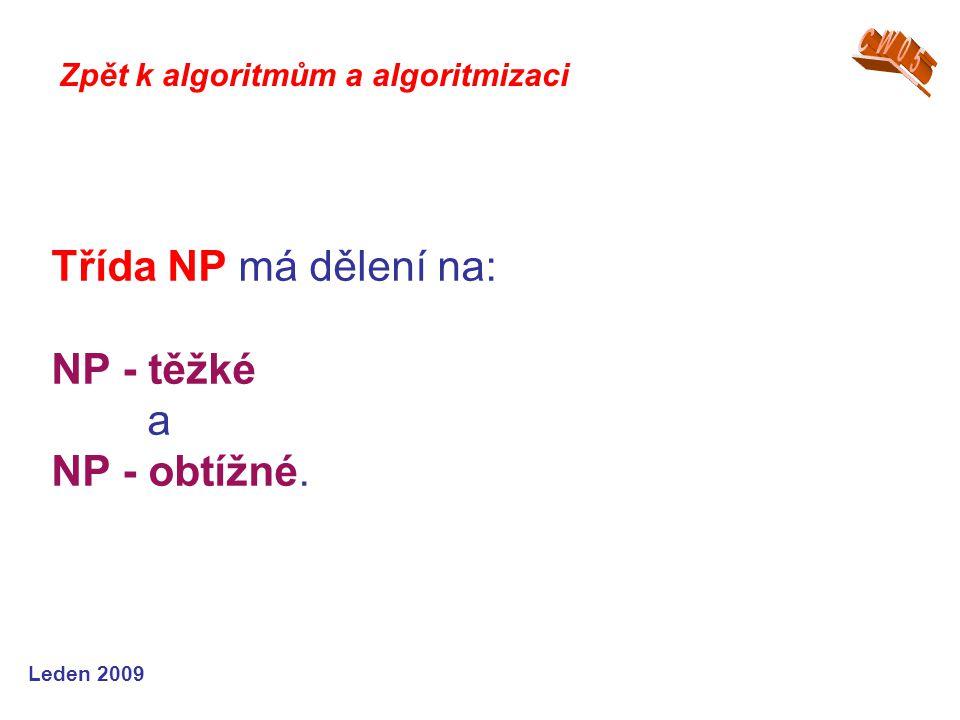Třída NP má dělení na: NP - těžké a NP - obtížné.