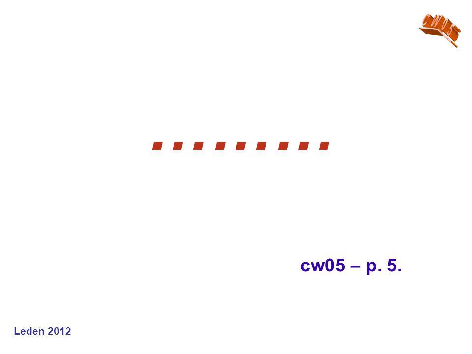 CW05 ……… cw05 – p. 5. Leden 2012