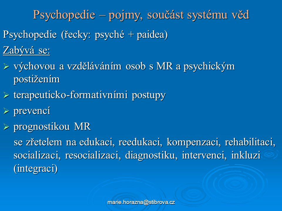 Psychopedie – pojmy, součást systému věd