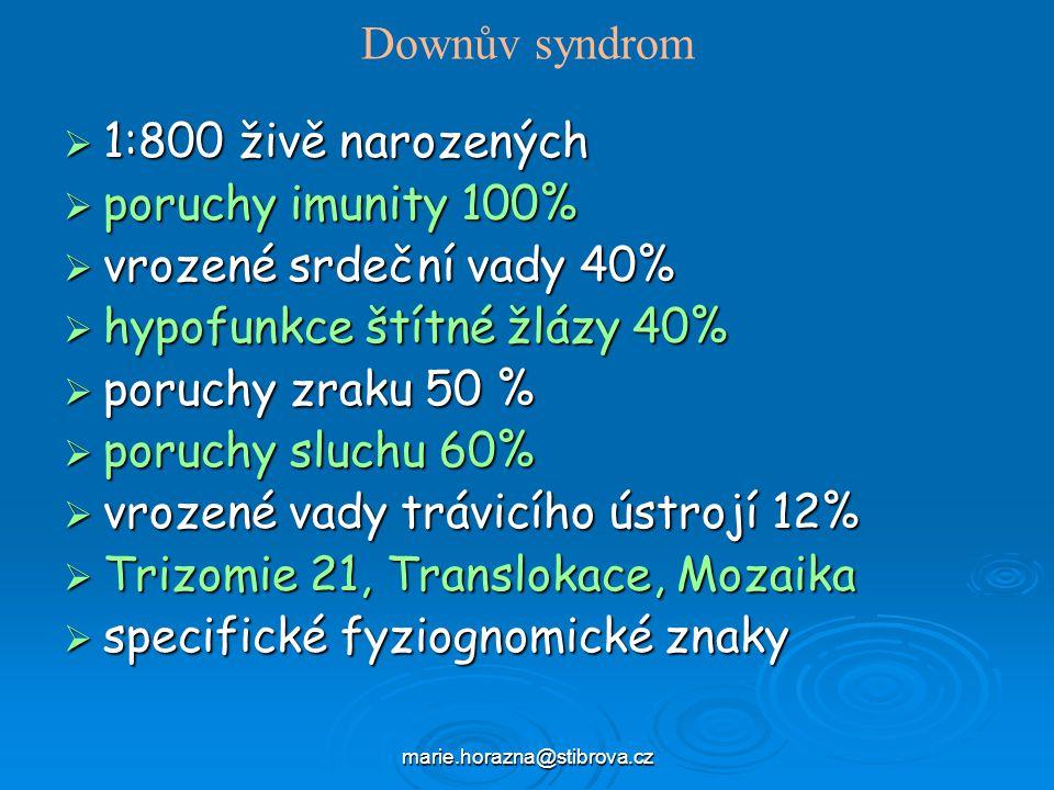 hypofunkce štítné žlázy 40% poruchy zraku 50 % poruchy sluchu 60%