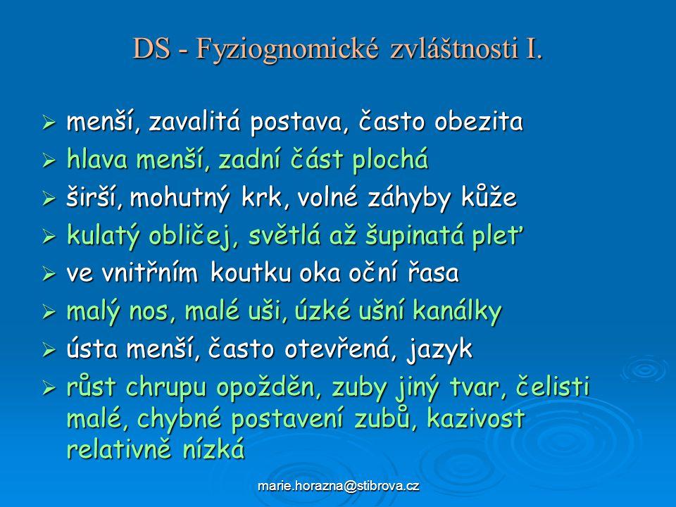 DS - Fyziognomické zvláštnosti I.