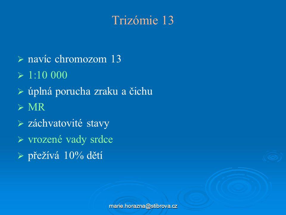 Trizómie 13 navíc chromozom 13 1:10 000 úplná porucha zraku a čichu MR