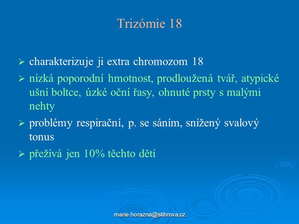 Trizómie 18 charakterizuje ji extra chromozom 18
