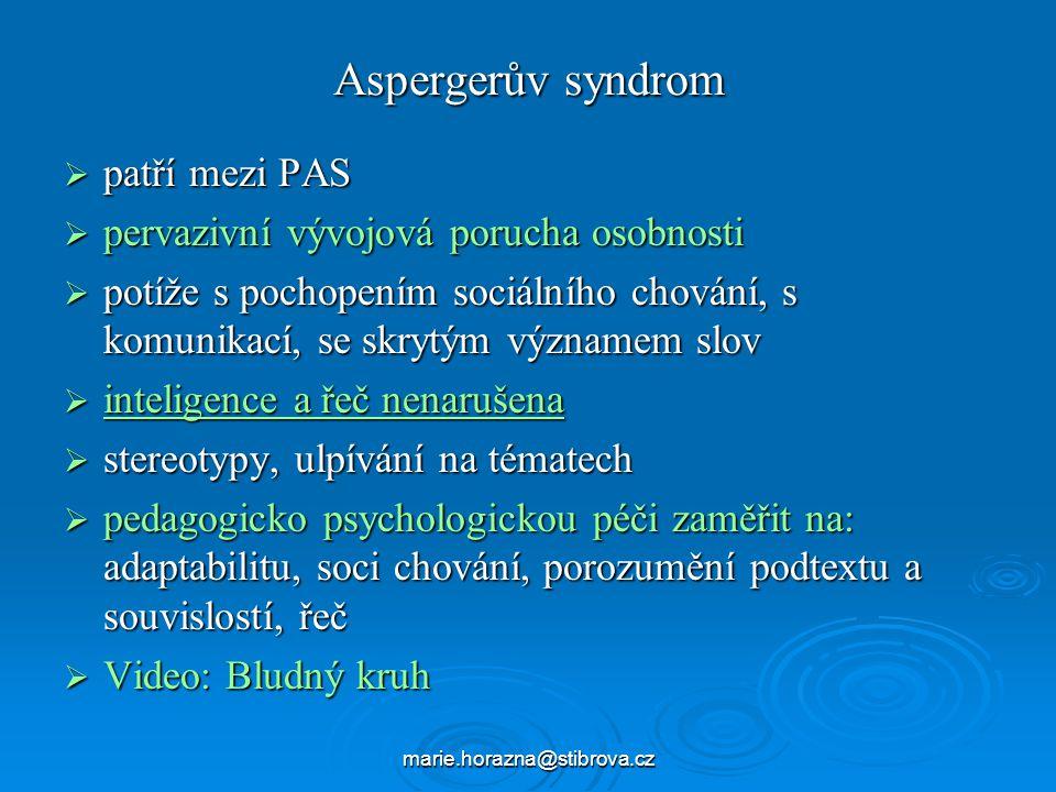 Aspergerův syndrom patří mezi PAS