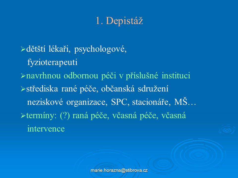 1. Depistáž dětští lékaři, psychologové, fyzioterapeuti