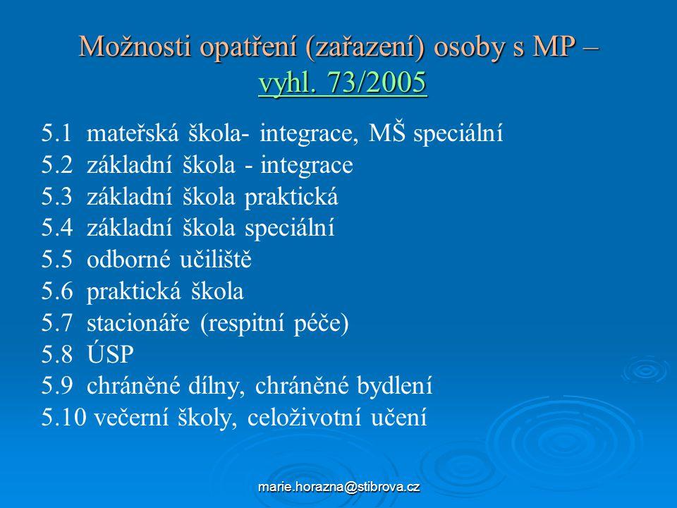 Možnosti opatření (zařazení) osoby s MP – vyhl. 73/2005