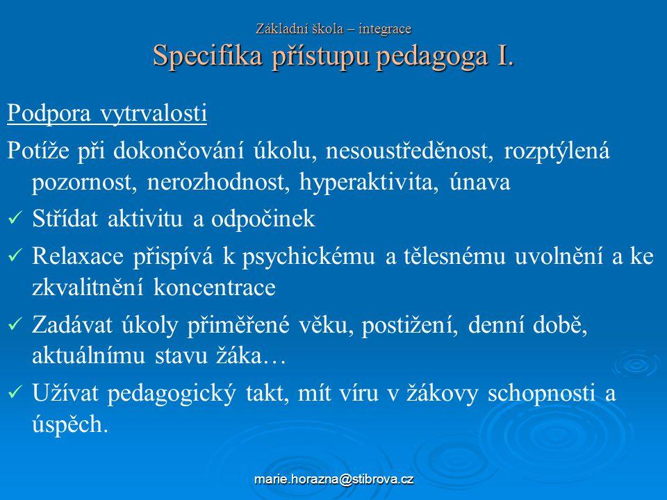 Základní škola – integrace Specifika přístupu pedagoga I.