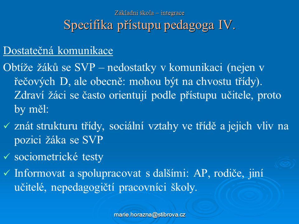 Základní škola – integrace Specifika přístupu pedagoga IV.