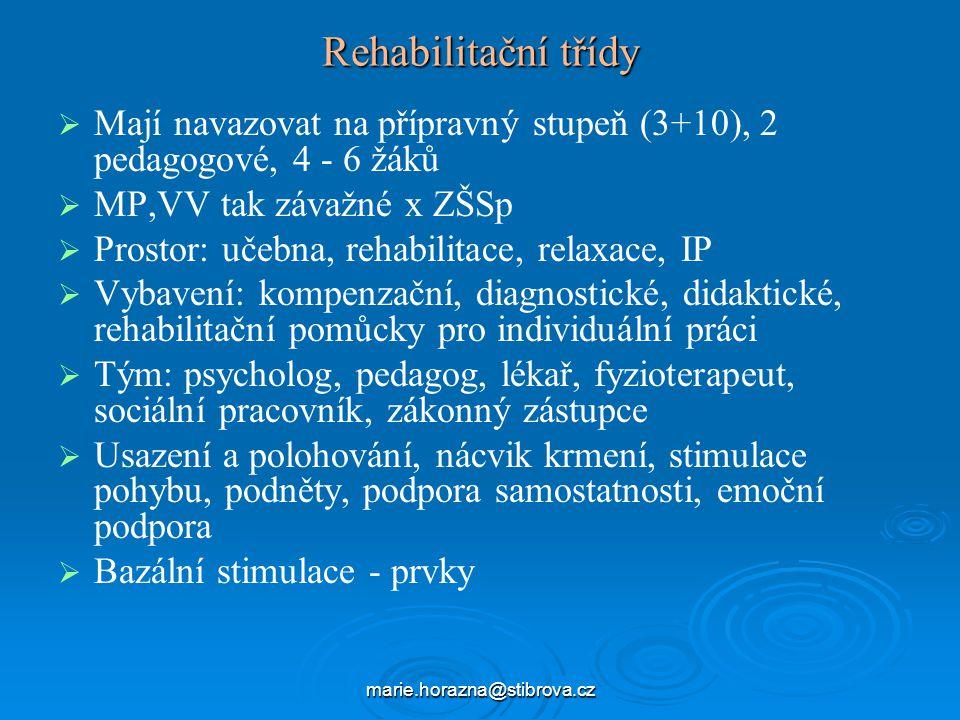 Rehabilitační třídy Mají navazovat na přípravný stupeň (3+10), 2 pedagogové, 4 - 6 žáků. MP,VV tak závažné x ZŠSp.