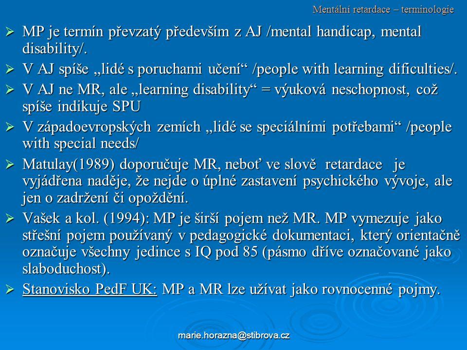 Mentální retardace – terminologie