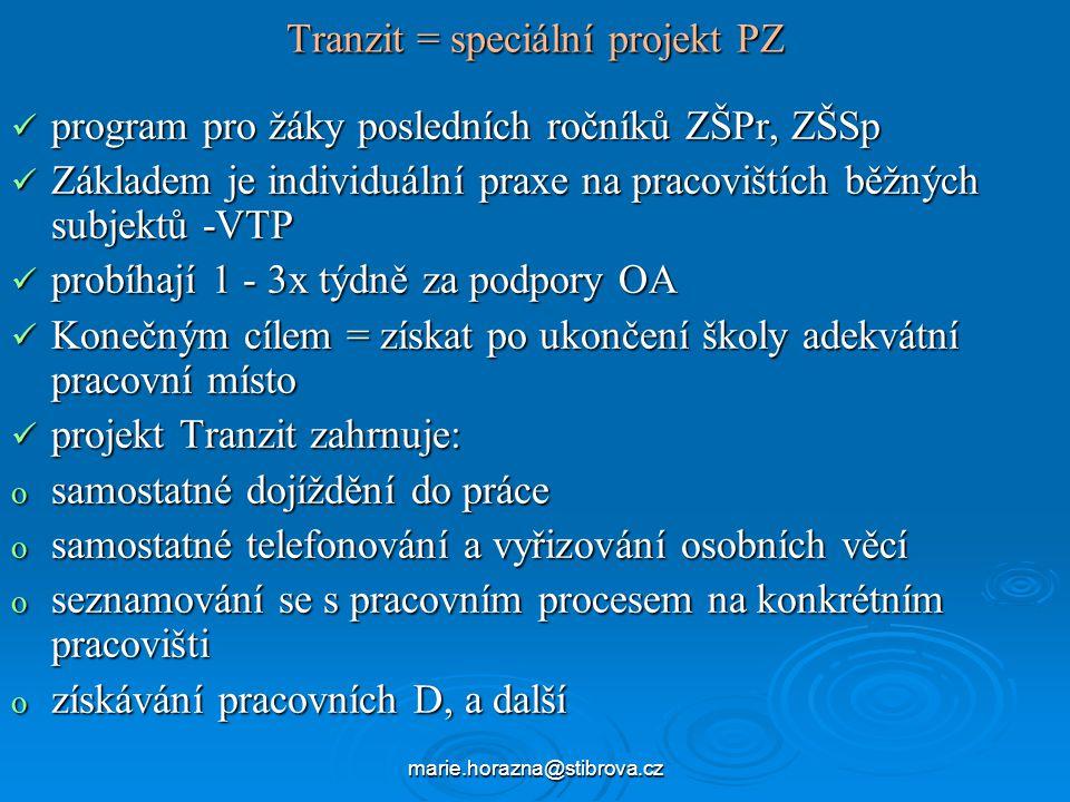 Tranzit = speciální projekt PZ