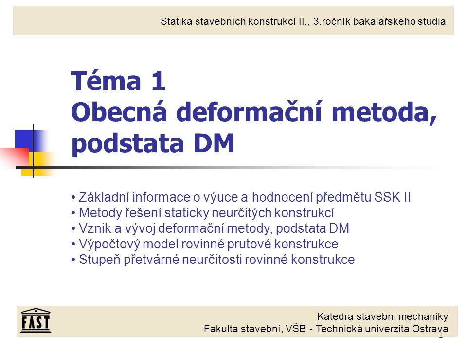 Téma 1 Obecná deformační metoda, podstata DM