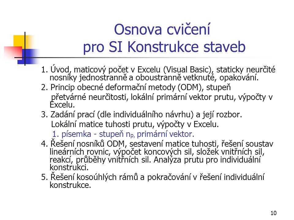 Osnova cvičení pro SI Konstrukce staveb