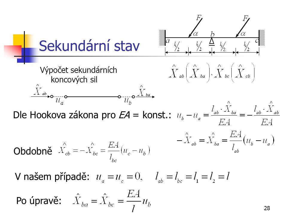 Sekundární stav Dle Hookova zákona pro EA = konst.: Obdobně