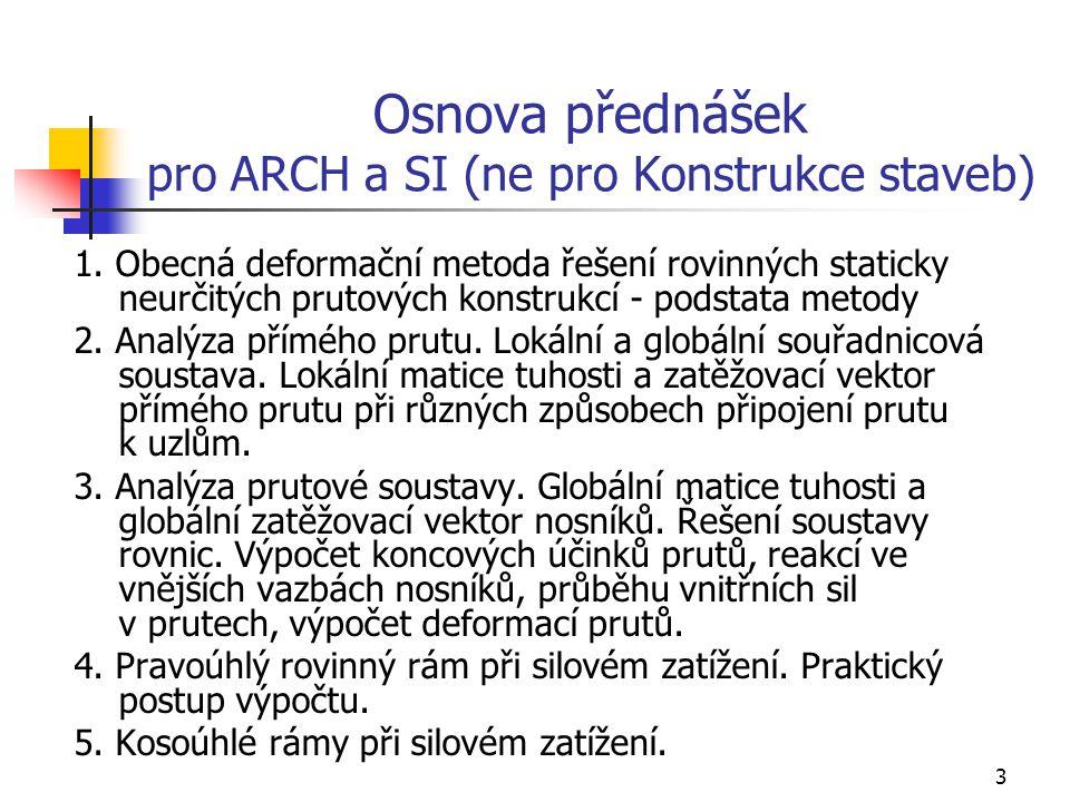 Osnova přednášek pro ARCH a SI (ne pro Konstrukce staveb)