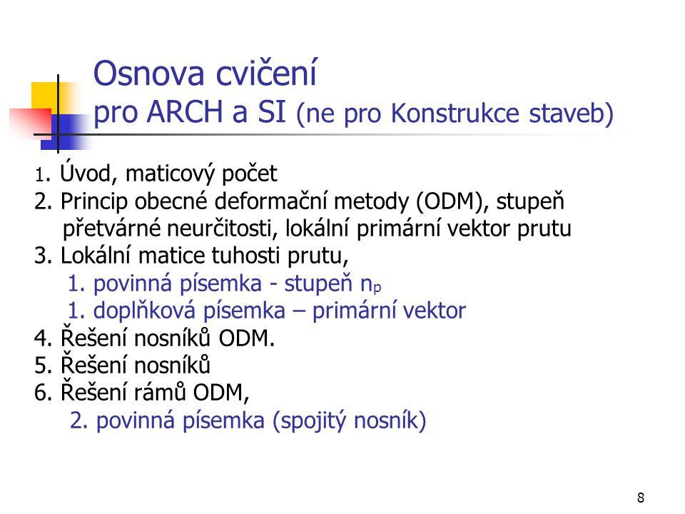 Osnova cvičení pro ARCH a SI (ne pro Konstrukce staveb)