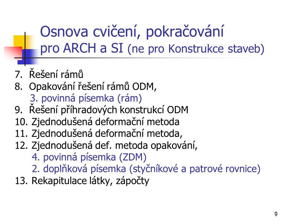 Osnova cvičení, pokračování pro ARCH a SI (ne pro Konstrukce staveb)