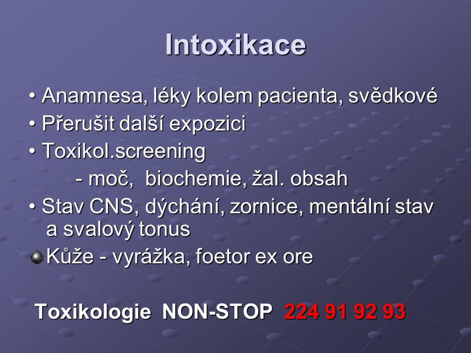 Intoxikace • Anamnesa, léky kolem pacienta, svědkové