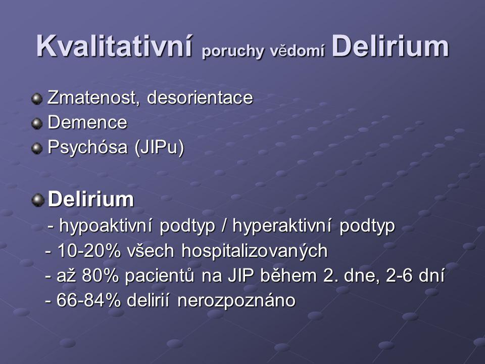 Kvalitativní poruchy vědomí Delirium