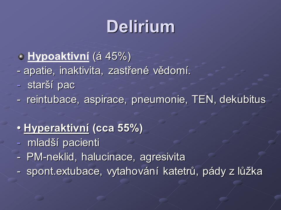 Delirium Hypoaktivní (á 45%) - apatie, inaktivita, zastřené vědomí.