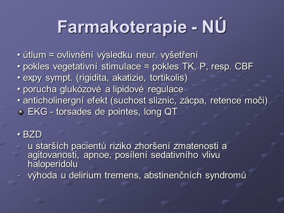 Farmakoterapie - NÚ • útlum = ovlivnění výsledku neur. vyšetření