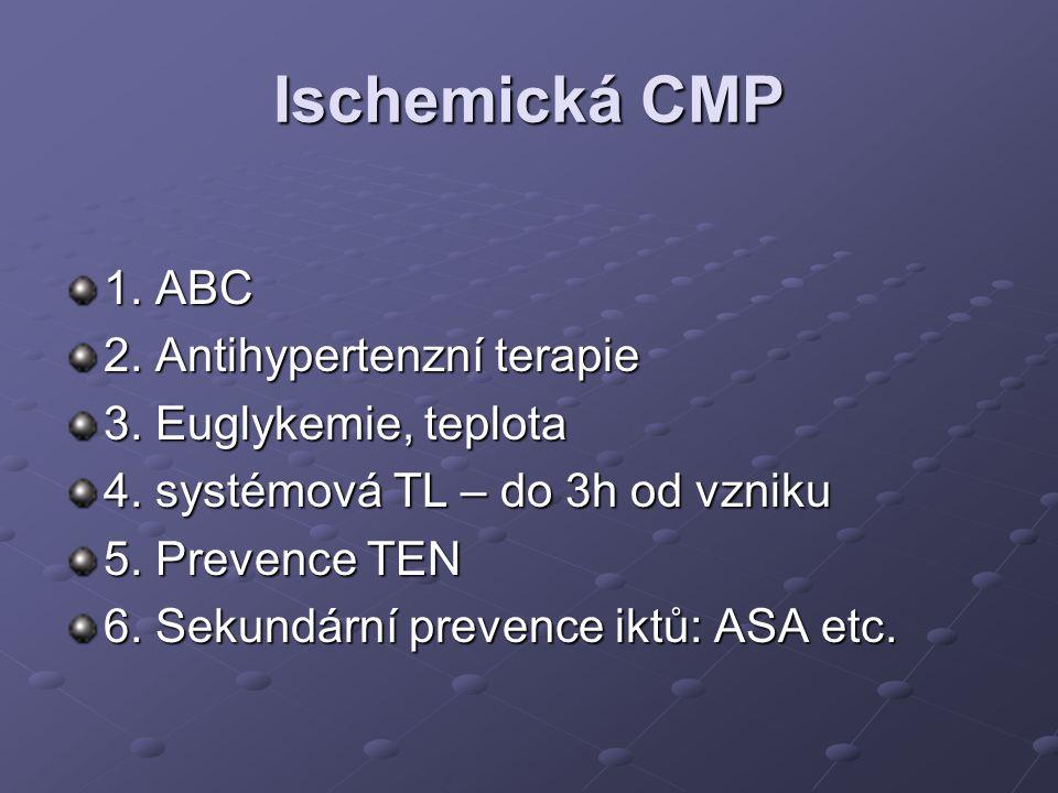 Ischemická CMP 1. ABC 2. Antihypertenzní terapie