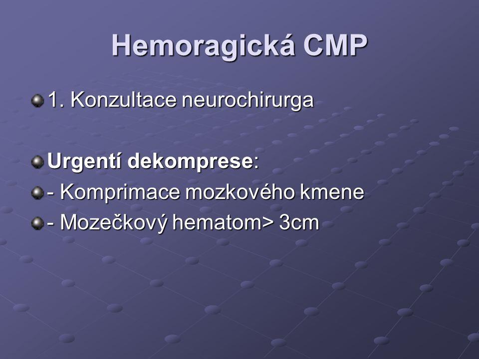 Hemoragická CMP 1. Konzultace neurochirurga Urgentí dekomprese: