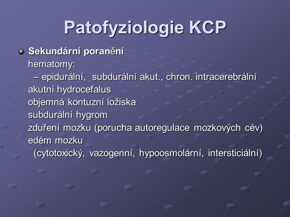 Patofyziologie KCP Sekundární poranění hematomy: