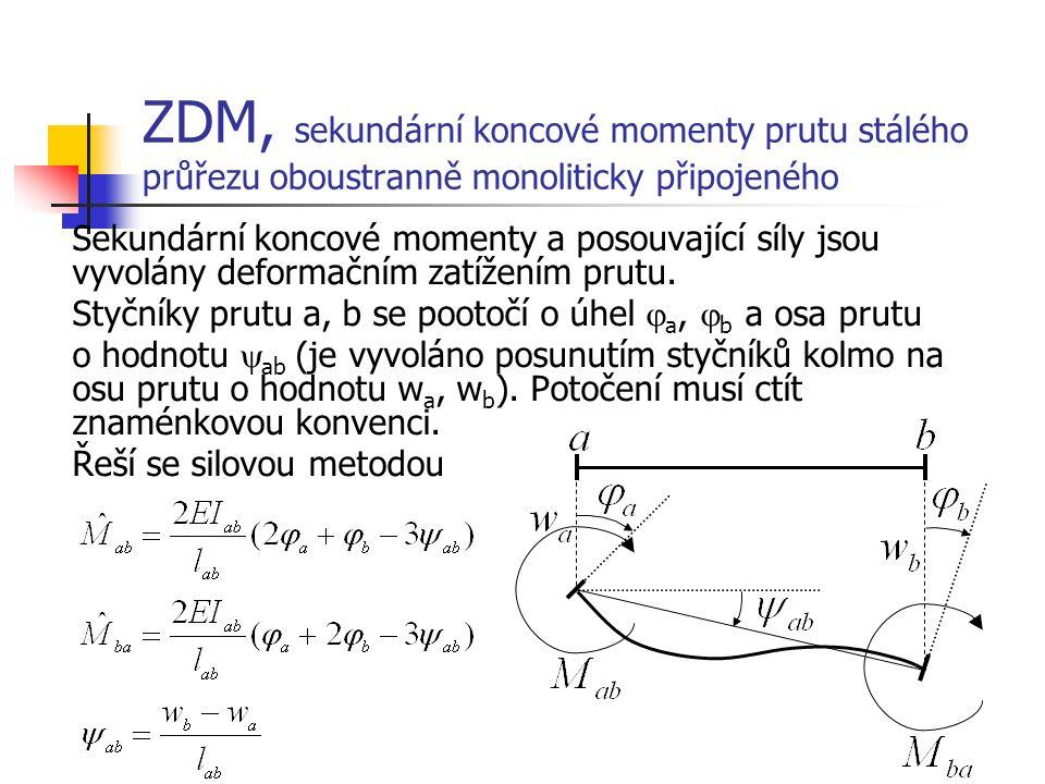 ZDM, sekundární koncové momenty prutu stálého průřezu oboustranně monoliticky připojeného