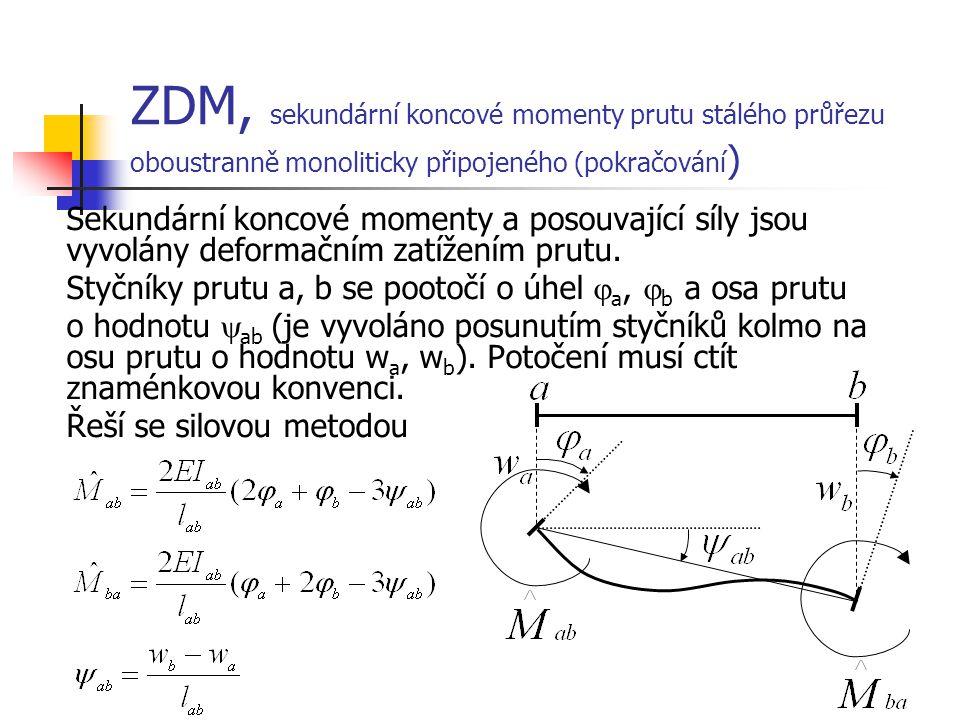 ZDM, sekundární koncové momenty prutu stálého průřezu oboustranně monoliticky připojeného (pokračování)