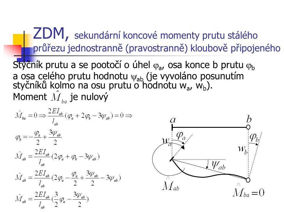 ZDM, sekundární koncové momenty prutu stálého průřezu jednostranně (pravostranně) kloubově připojeného