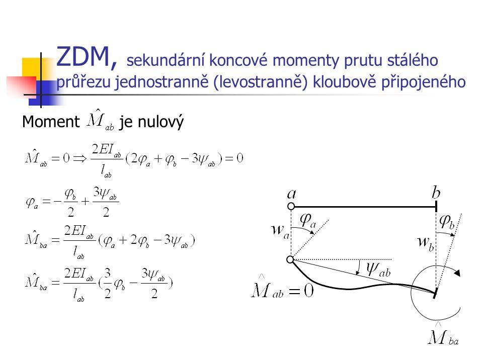 ZDM, sekundární koncové momenty prutu stálého průřezu jednostranně (levostranně) kloubově připojeného