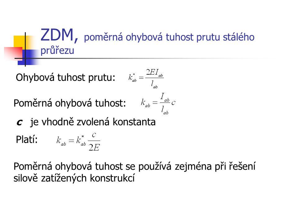 ZDM, poměrná ohybová tuhost prutu stálého průřezu