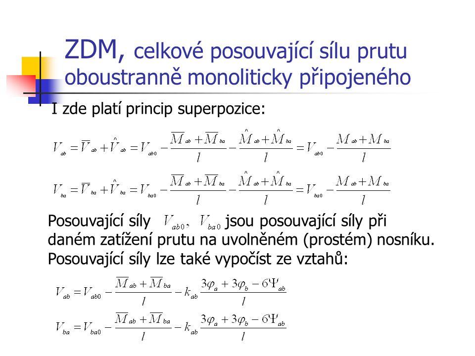 ZDM, celkové posouvající sílu prutu oboustranně monoliticky připojeného