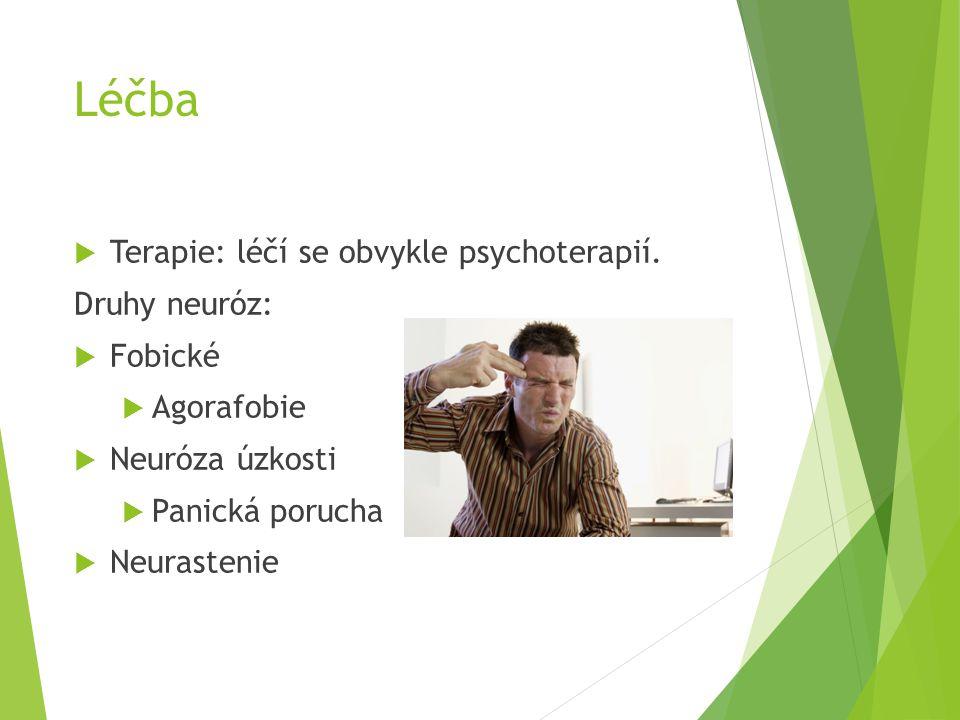 Léčba Terapie: léčí se obvykle psychoterapií. Druhy neuróz: Fobické