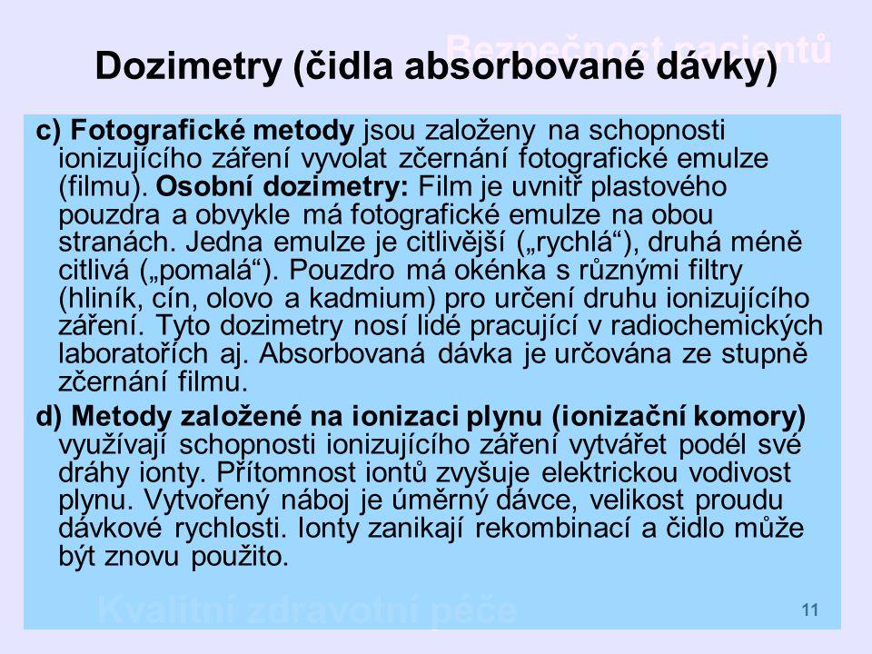 Dozimetry (čidla absorbované dávky)
