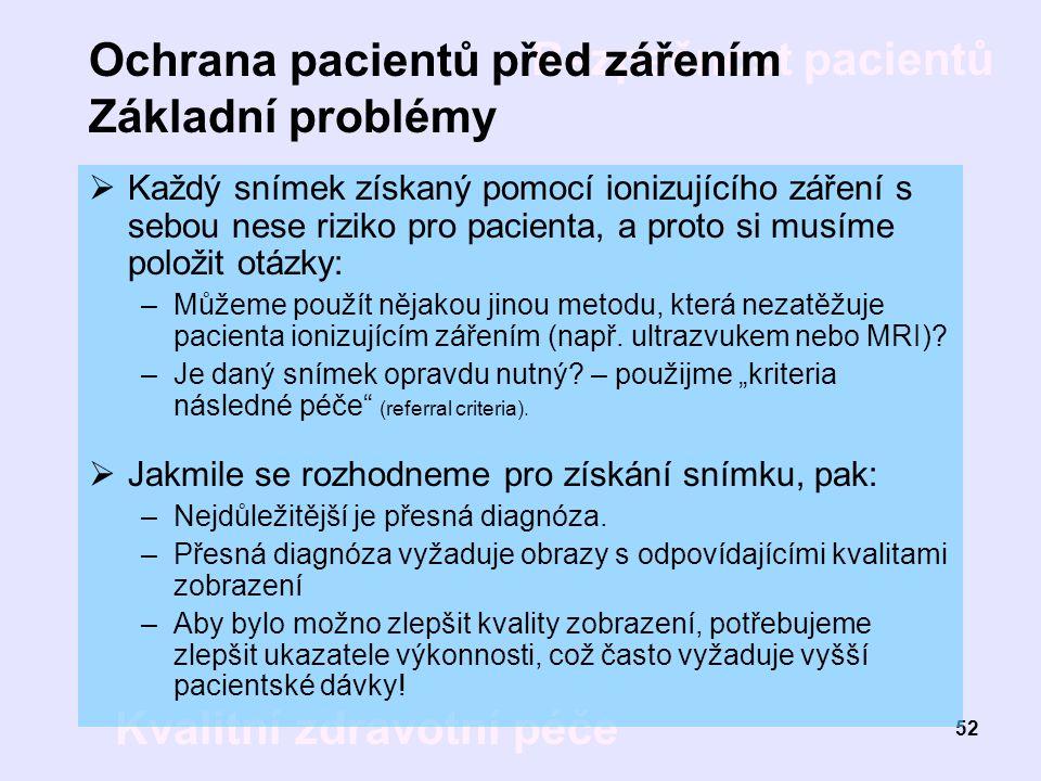 Ochrana pacientů před zářením Základní problémy