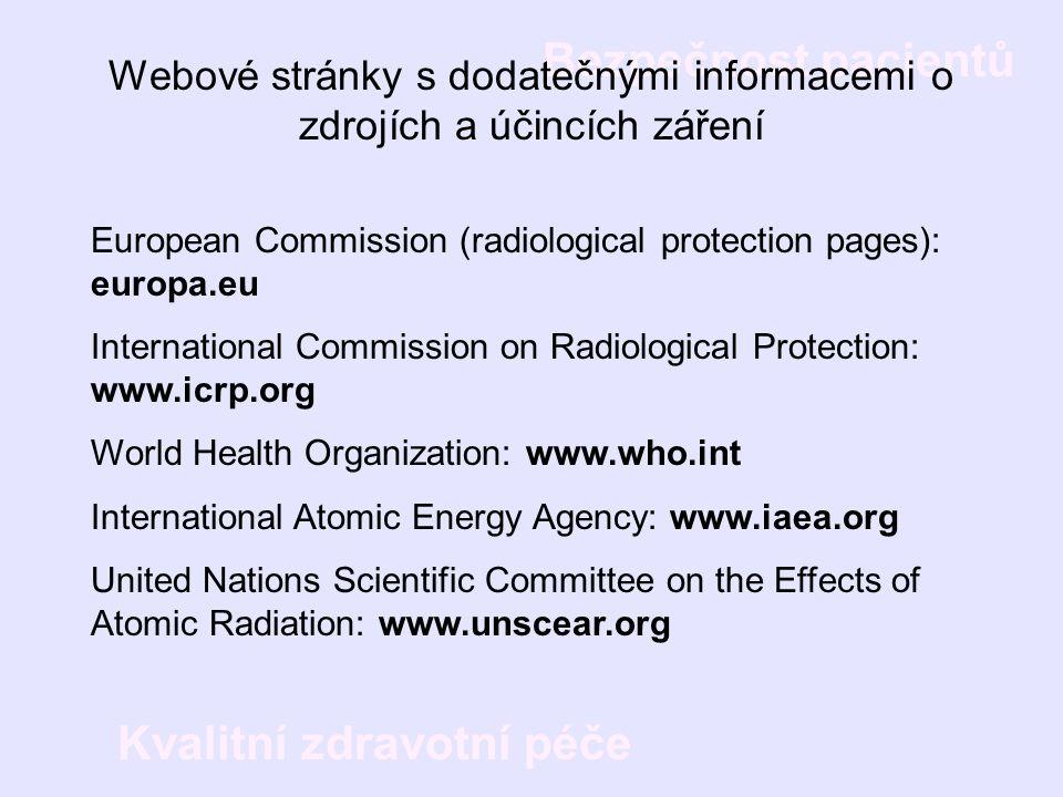 Webové stránky s dodatečnými informacemi o zdrojích a účincích záření