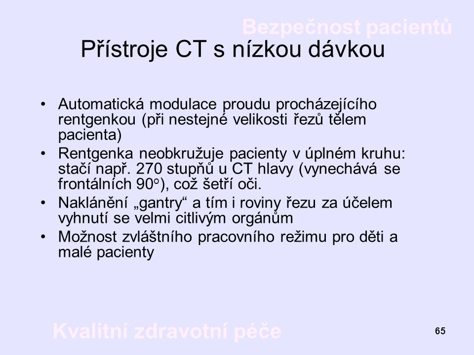 Přístroje CT s nízkou dávkou