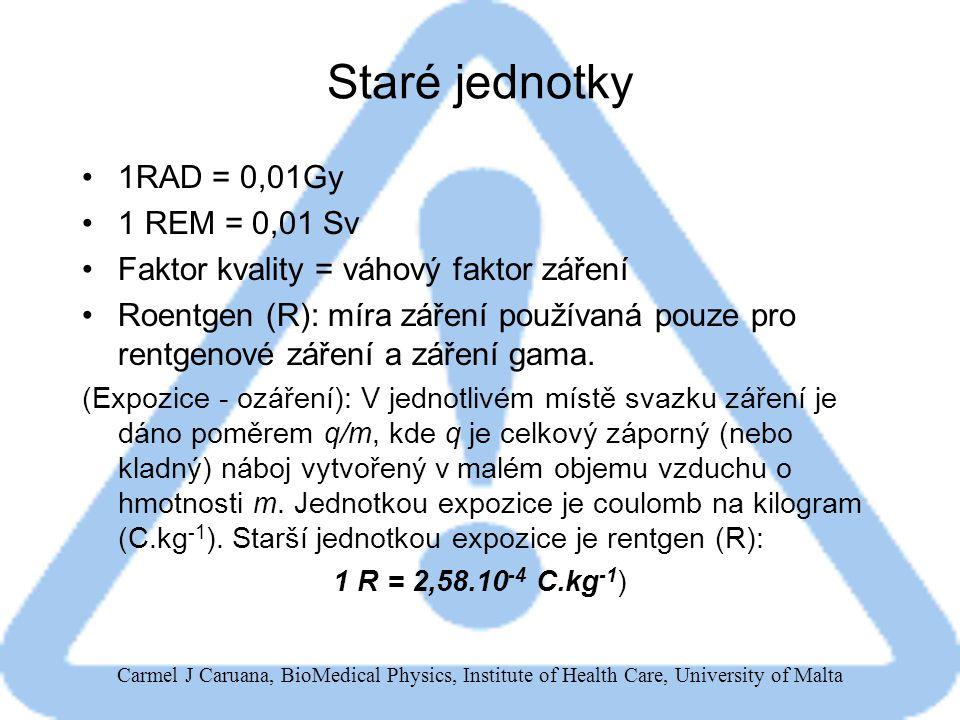 Staré jednotky 1RAD = 0,01Gy 1 REM = 0,01 Sv