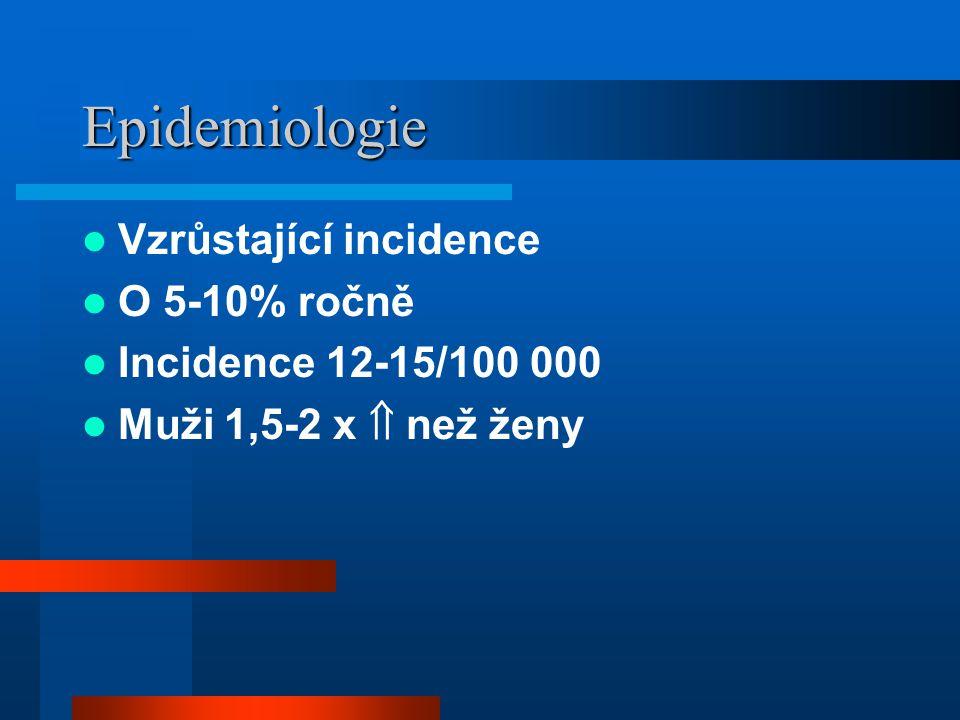 Epidemiologie Vzrůstající incidence O 5-10% ročně