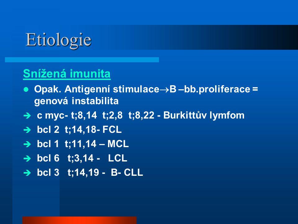 Etiologie Snížená imunita