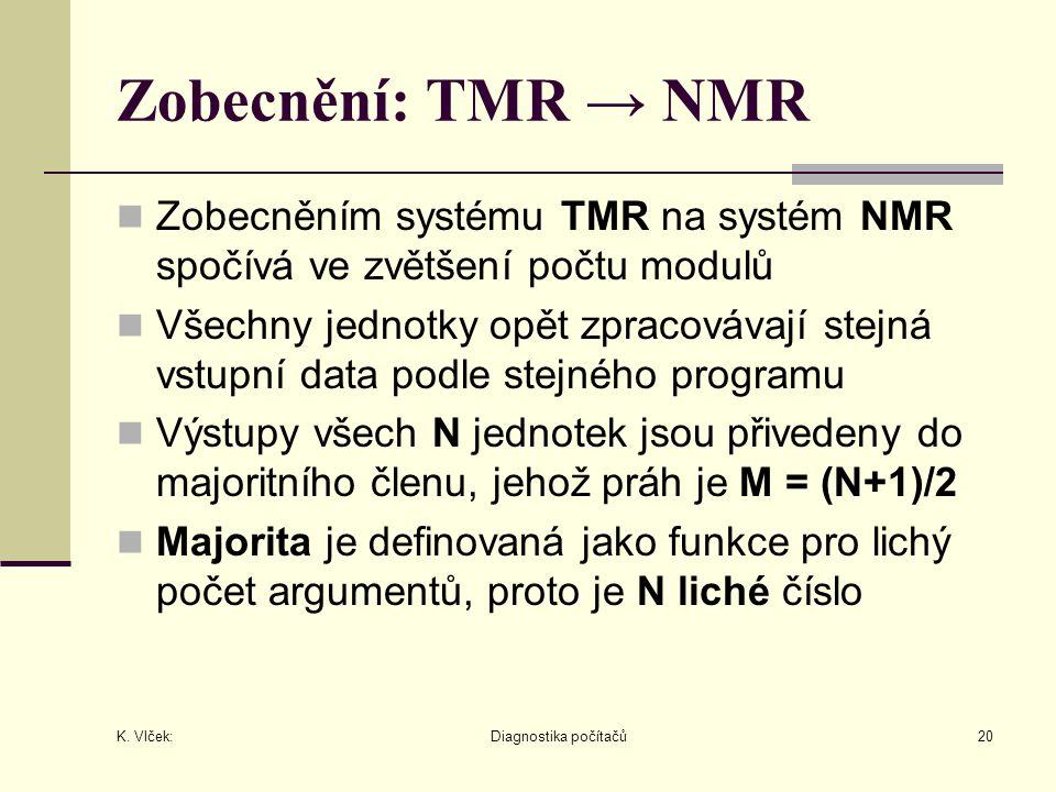 Zobecnění: TMR → NMR Zobecněním systému TMR na systém NMR spočívá ve zvětšení počtu modulů.