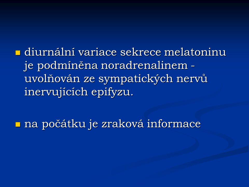 diurnální variace sekrece melatoninu je podmíněna noradrenalinem - uvolňován ze sympatických nervů inervujících epifyzu.