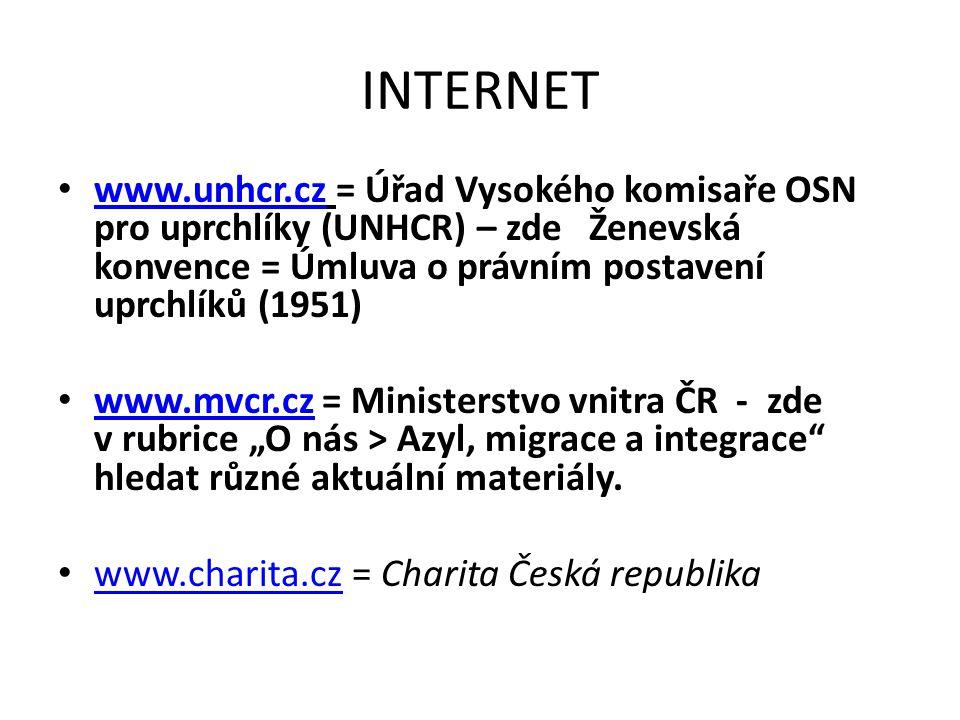 INTERNET www.unhcr.cz = Úřad Vysokého komisaře OSN pro uprchlíky (UNHCR) – zde Ženevská konvence = Úmluva o právním postavení uprchlíků (1951)