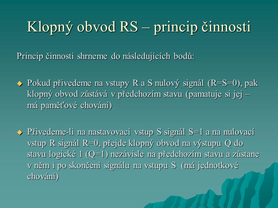 Klopný obvod RS – princip činnosti