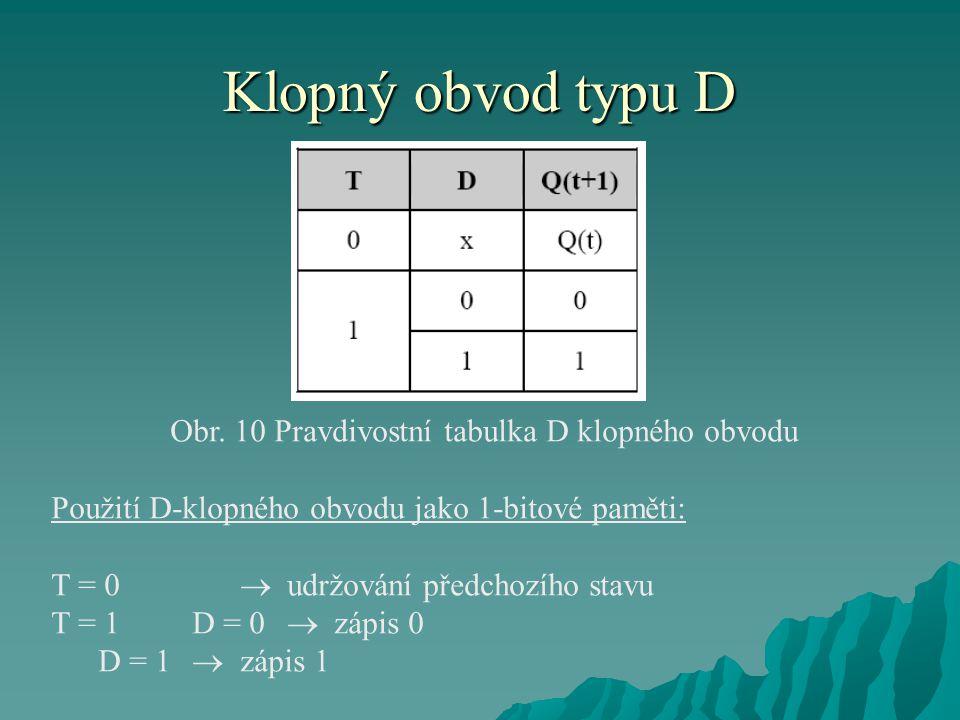 Obr. 10 Pravdivostní tabulka D klopného obvodu