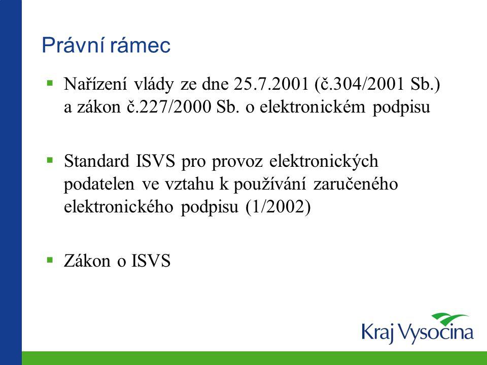 Právní rámec Nařízení vlády ze dne 25.7.2001 (č.304/2001 Sb.) a zákon č.227/2000 Sb. o elektronickém podpisu.